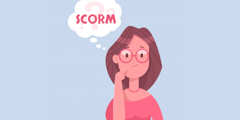 Illustration showing a person thinking of the benefits of SCORM