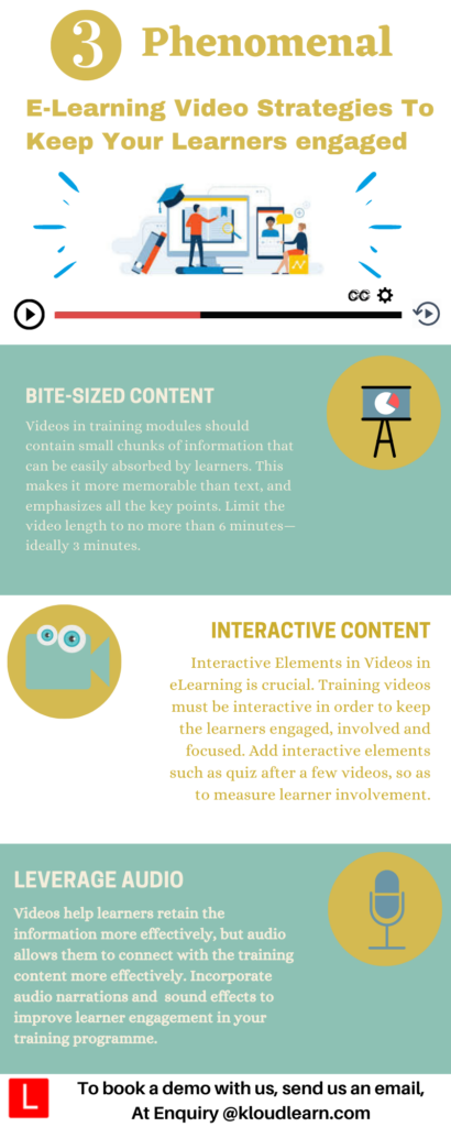 Infographic about the video strategies to keep learners engaged